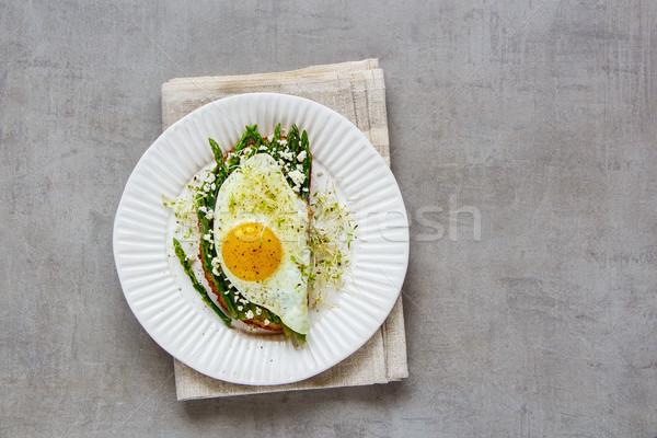 春 サンドイッチ プレート 緑 フェタチーズ ストックフォト © YuliyaGontar
