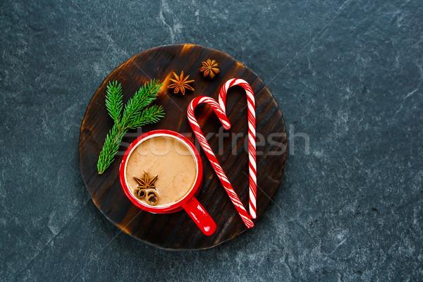 Winter warme chocolademelk christmas nieuwjaar rijke specerijen Stockfoto © YuliyaGontar