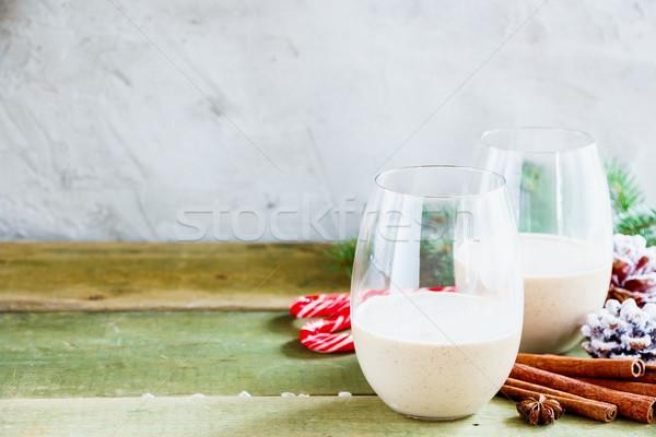 Traditional winter eggnog Stock photo © YuliyaGontar