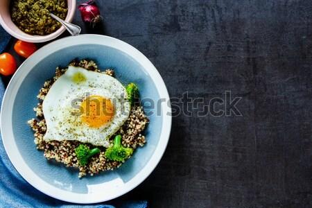 Stock fotó: Brokkoli · tojás · egészséges · reggeli · tál · falatozó