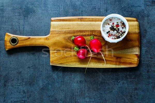 Vers organisch radijs houten specerijen Stockfoto © YuliyaGontar