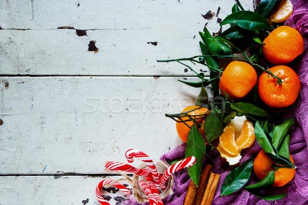 Ano novo folhas natal decoração doce canela Foto stock © YuliyaGontar