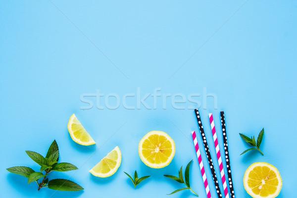 Malzemeler yaz kokteyl yaratıcı düzen limon Stok fotoğraf © YuliyaGontar