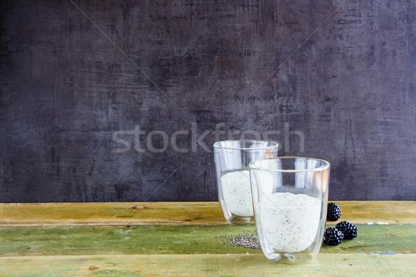 Iogurte pudim saudável café da manhã pedreiro Foto stock © YuliyaGontar