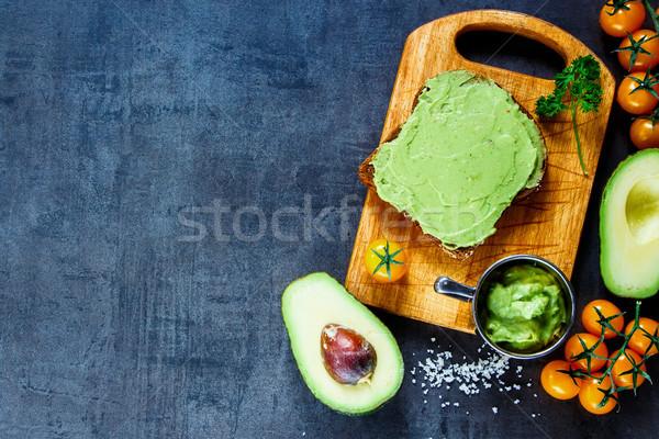 Rye bread with guakomole Stock photo © YuliyaGontar