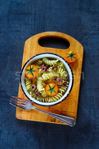 Pasta salad with tomatoes Stock photo © YuliyaGontar