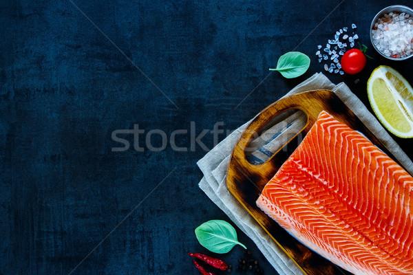 świeże łososia filet cytryny zioła Zdjęcia stock © YuliyaGontar