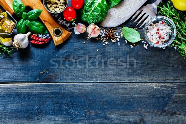 Stok fotoğraf: Taze · sebze · lezzetli · pişirme · ayarlamak · bağbozumu