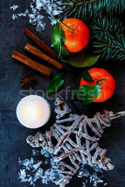 クリスマス ヴィンテージ タンジェリン キャンドル 暗い 休日 ストックフォト © YuliyaGontar