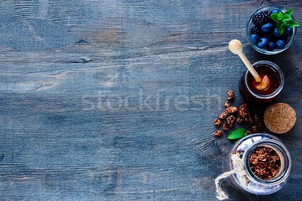 Hozzávalók egészséges reggeli szett bögre csokoládé Stock fotó © YuliyaGontar