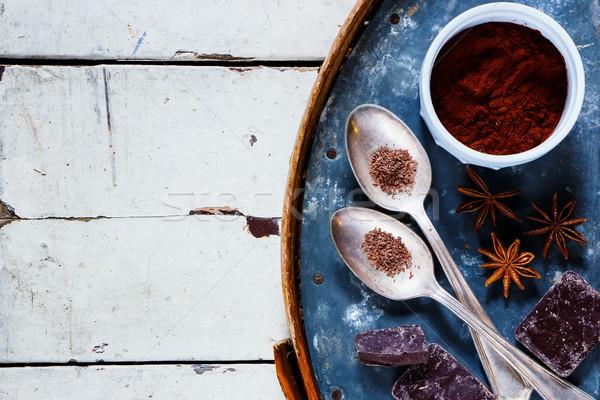 Ingredientes chocolate quente temperos velho enferrujado ferro Foto stock © YuliyaGontar