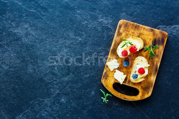 甘い 夏 サンドイッチ 液果類 ラズベリー ブルーベリー ストックフォト © YuliyaGontar