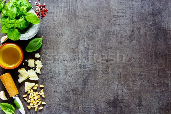 Malzemeler pesto sos İtalyan karanlık bağbozumu Stok fotoğraf © YuliyaGontar