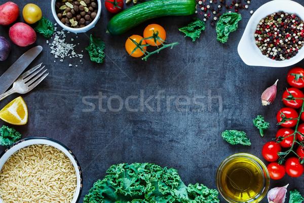 Brązowy ryżu warzyw świeże składniki Zdjęcia stock © YuliyaGontar