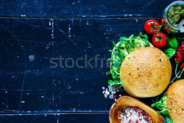 Zielone kanapki zdrowych pesto Zdjęcia stock © YuliyaGontar