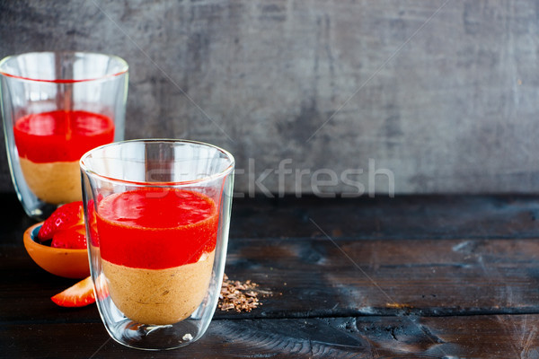 Chocolate dessert in jars Stock photo © YuliyaGontar