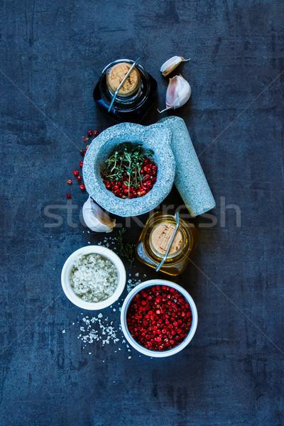 Specerijen top olijfolie balsamico azijn Stockfoto © YuliyaGontar