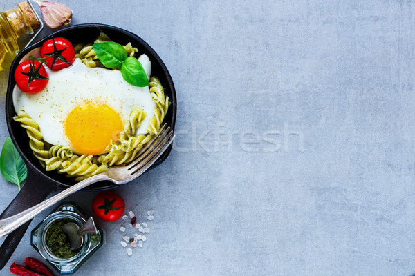 Italian pasta in pan Stock photo © YuliyaGontar