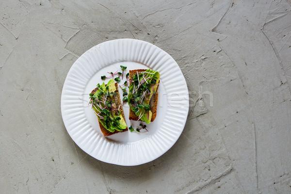 авокадо пластина сбалансированный вегетарианский завтрак обед Сток-фото © YuliyaGontar