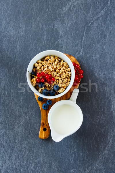 ストックフォト: 朝食 · グラノーラ · 自家製 · ミューズリー · 新鮮な