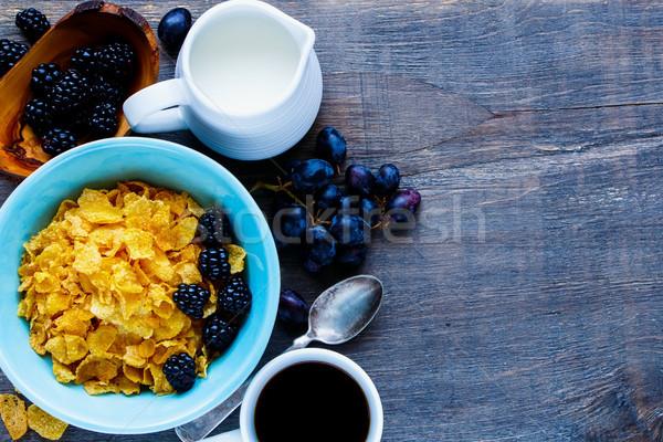 Bowl of corn flakes Stock photo © YuliyaGontar
