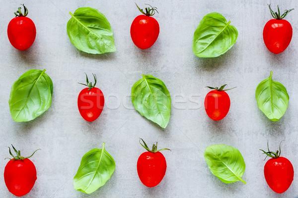 トマト バジル 創造 レイアウト チェリートマト 葉 ストックフォト © YuliyaGontar