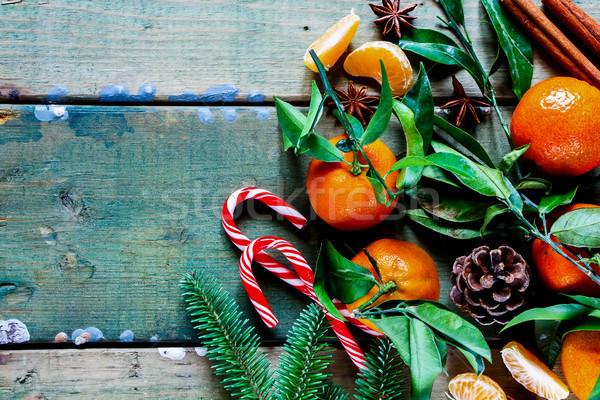 Bladeren christmas nieuwjaar pine kaneel Stockfoto © YuliyaGontar