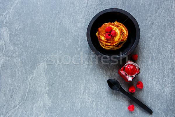 Taze krep lezzetli kahvaltı ahududu reçel Stok fotoğraf © YuliyaGontar