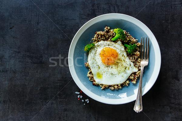 Stock fotó: Brokkoli · tojás · tál · közelkép · vegetáriánus · reggeli