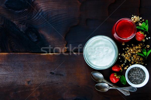 健康 朝食 表 自家製 ヨーグルト イチゴ ストックフォト © YuliyaGontar