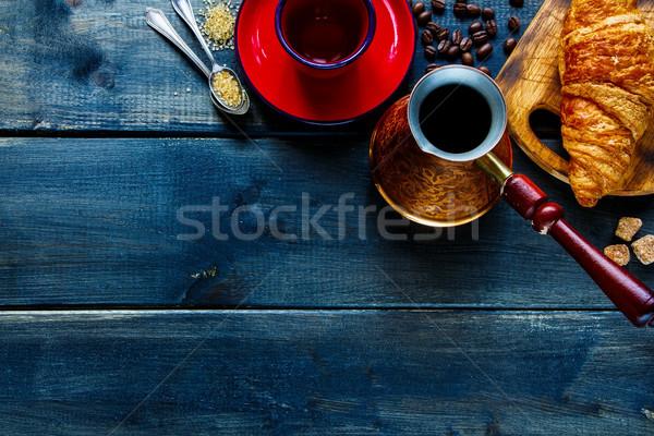 Foto stock: Desayuno · establecer · superior · vista · vintage · café