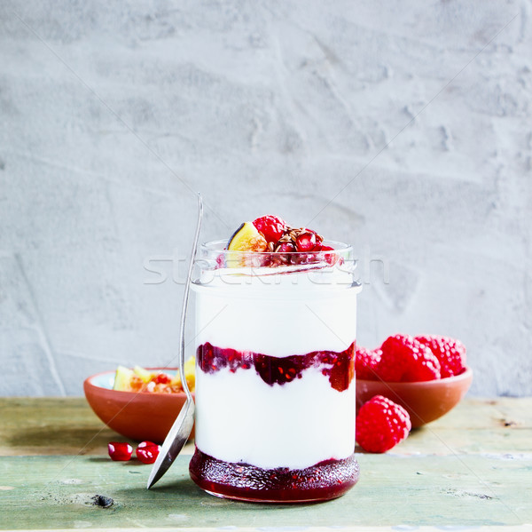Stock photo: Greek yogurt and berries