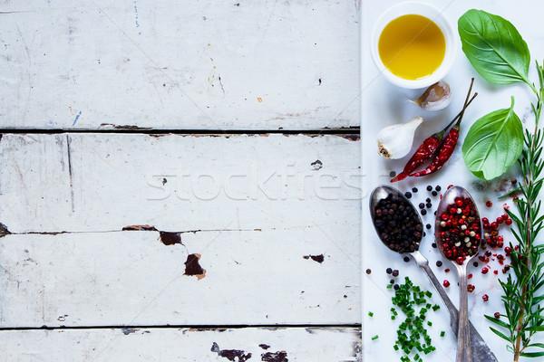 Wyschnięcia kolorowy przyprawy starych biały drewniany stół Zdjęcia stock © YuliyaGontar