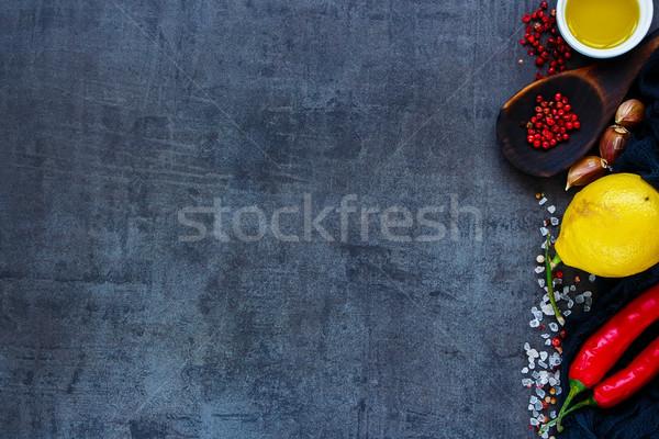 Cooking ingredients on stone Stock photo © YuliyaGontar