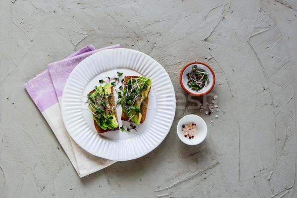 Foto stock: Aguacate · placa · equilibrado · vegetariano · desayuno · almuerzo