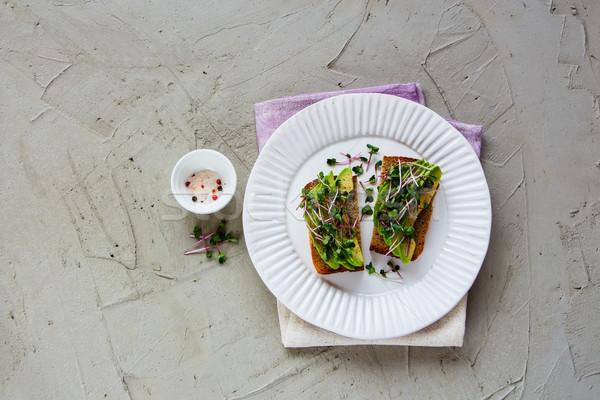 Foto stock: Aguacate · placa · saludable · vegetariano · desayuno · almuerzo