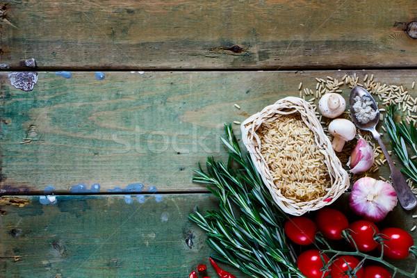 Stok fotoğraf: Kahverengi · pirinç · gıda · taze · sebze · baharatlar