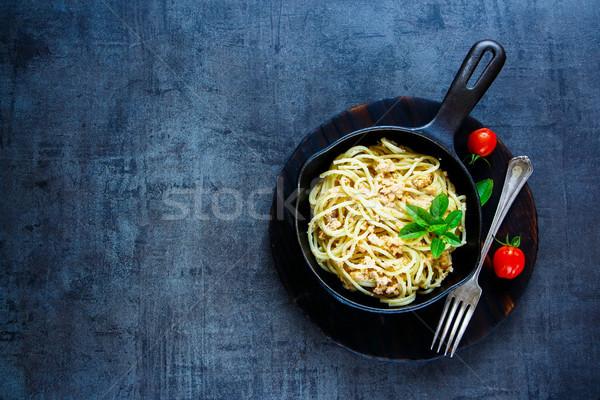 Pasta with crab sauce Stock photo © YuliyaGontar