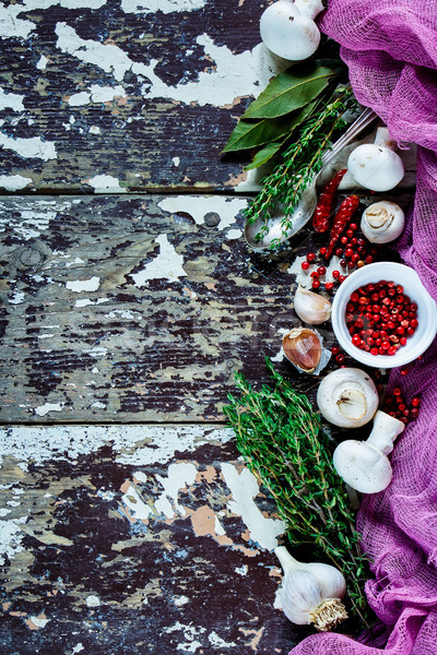 Mushrooms and cooking ingredients Stock photo © YuliyaGontar