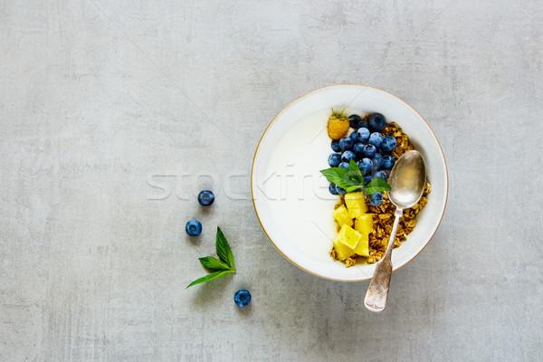 Granola yoğurt meyve sağlıklı kahvaltı çanak Stok fotoğraf © YuliyaGontar