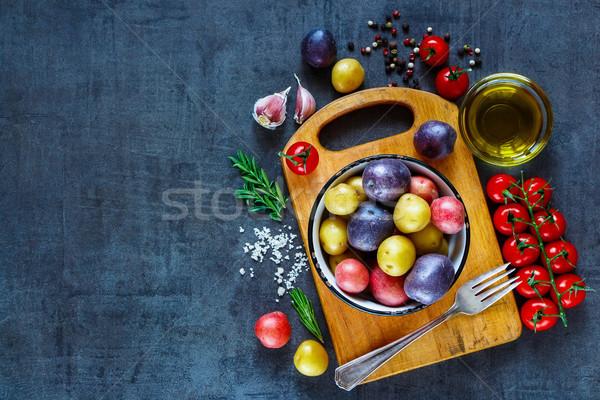Stok fotoğraf: Taze · organik · sebze · bağbozumu · malzemeler