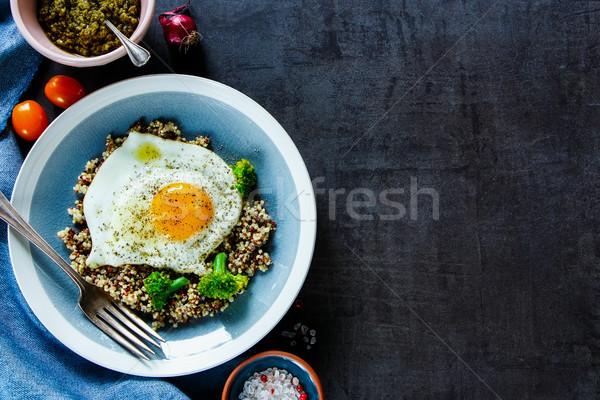 Stok fotoğraf: Brokoli · yumurta · çanak · sağlıklı · vejetaryen · kahvaltı