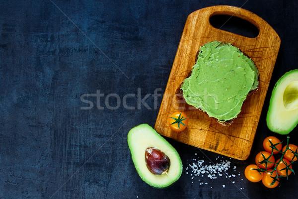 Rogge brood sandwich rustiek houten Stockfoto © YuliyaGontar