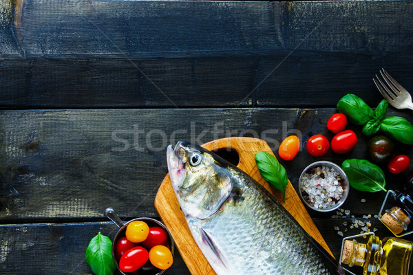 ストックフォト: 海 · 魚 · 野菜 · 新鮮な · レモン · ハーブ
