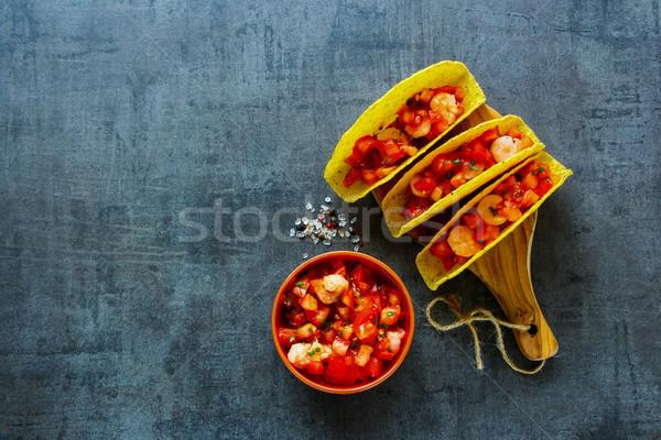Mexikói konyha ízletes Seattle taco házi készítésű salsa Stock fotó © YuliyaGontar
