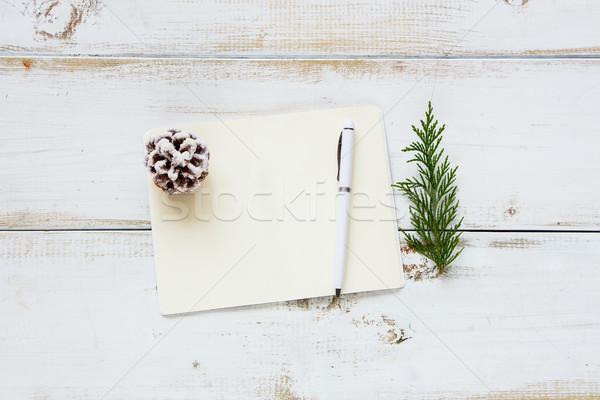 Рождества ноутбук белый деревянный стол Top мнение Сток-фото © YuliyaGontar