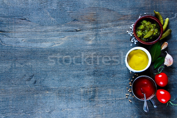 Sauces with herbs and spices Stock photo © YuliyaGontar