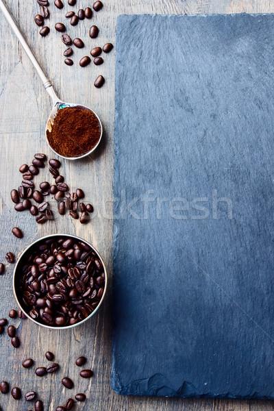 Kávé felső kilátás grunge sötét reggeli Stock fotó © YuliyaGontar