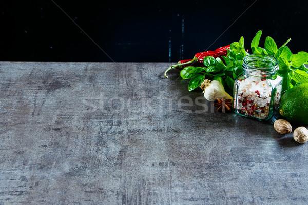 ハーブ スパイス 健康 料理 石 選択フォーカス ストックフォト © YuliyaGontar