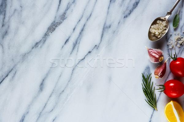 Ingredients on marble texture Stock photo © YuliyaGontar